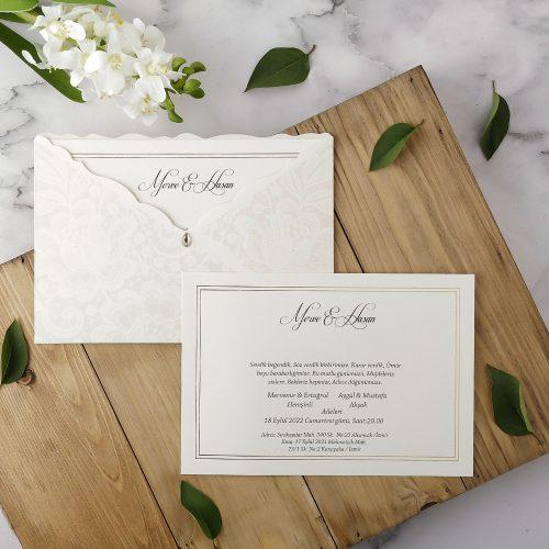 Taş Süslemeli Düğün Davetiyesi EKP10233