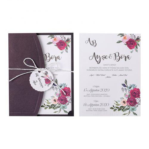 Retro Çiçekli Düğün Davetiyesi EKP22312