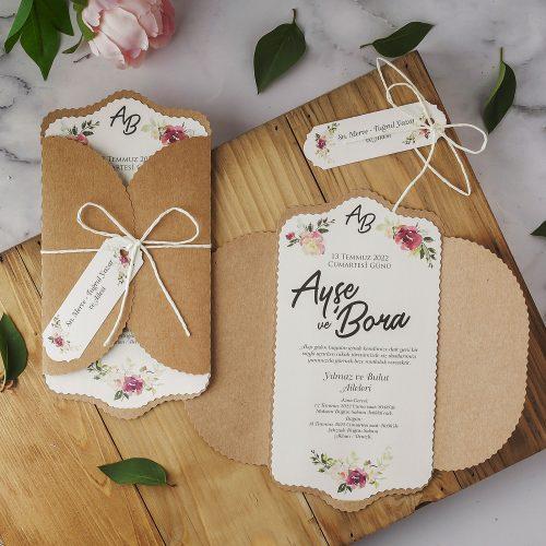 Çiçekli Kraft Düğün Davetiyesi EKP22332
