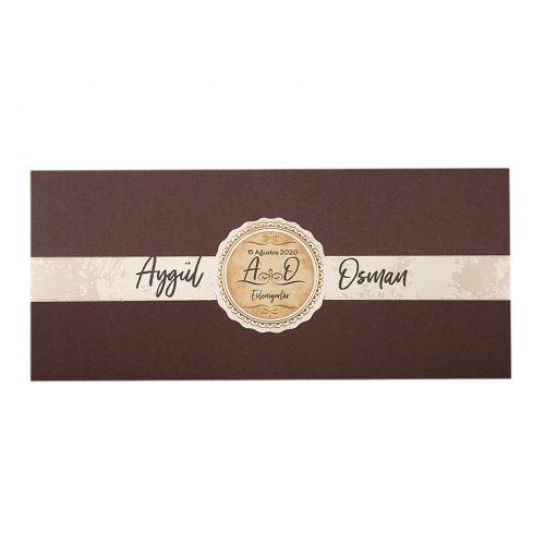 Kahverengi Düğün Davetiyesi EKP22362