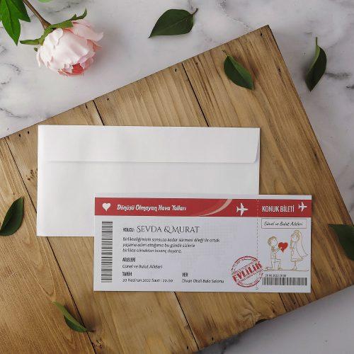 Uçak Bileti Düğün Davetiyesi EKP22415