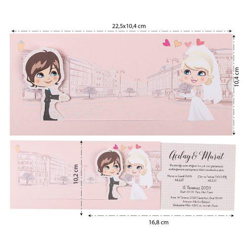 Karikatürlü Düğün Davetiyesi EKP22419