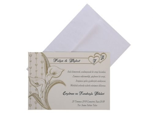 Çiçeklerle Süslü Düğün Davetiyesi 10349