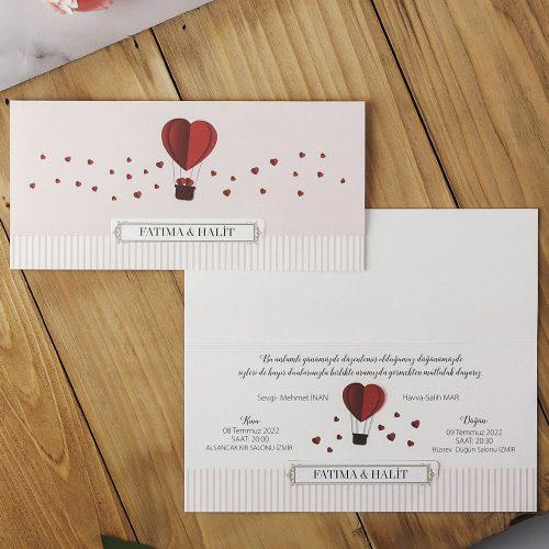 Kalp Balonlu Ucuz Düğün Davetiyesi EKP40203