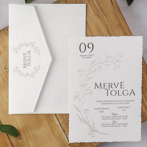 Beyaz Sade Düğün Davetiyesi EKP40205