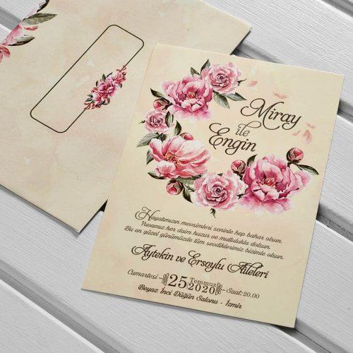 Çiçekli Düğün Davetiyesi KL10510