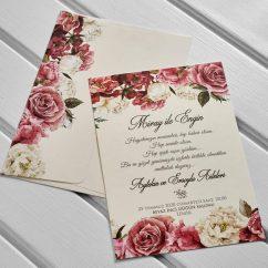 Çiçekli Düğün Davetiyesi KL10565