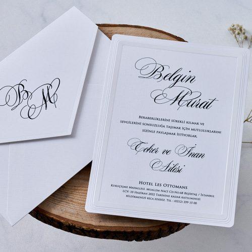 Beyaz Düğün Davetiyesi EB1122