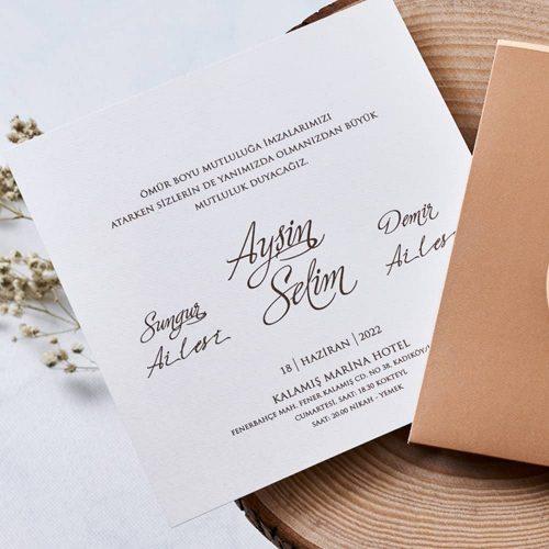 Sade Düğün Davetiyesi EB1129