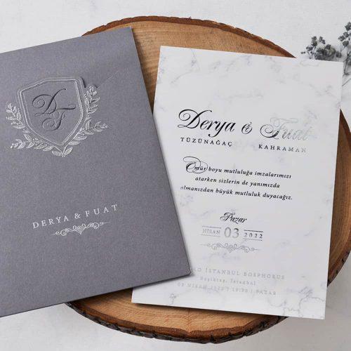 Mermer Düğün Davetiyesi EB1155
