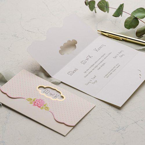 Pembe Puanlı Düğün Davetiyesi EKO9101