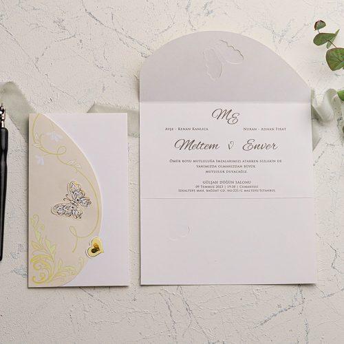 Kalpli Kelebekli Düğün Davetiyesi EKO9104