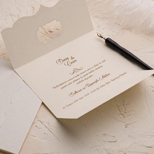 Ekose Kabartma Motifli Düğün Davetiyesi EKO9106