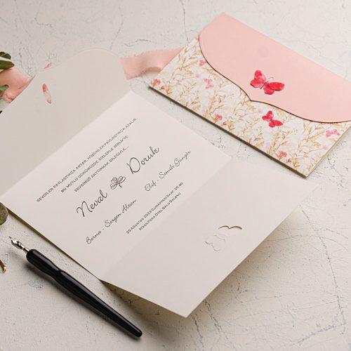 Kelebekli Ucuz Düğün Davetiyesi EKO9107