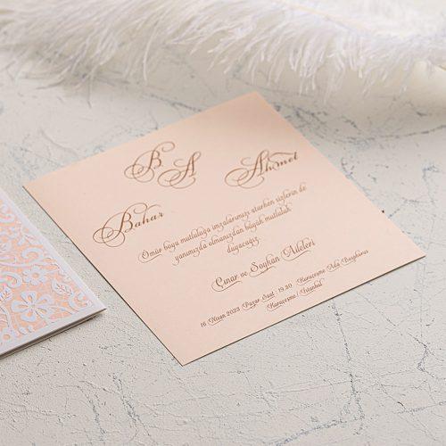 Beyaz yapraklı Düğün Davetiyesi EKO9108
