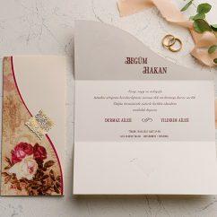 Beyaz Kırmızı Güllü Düğün Davetiyesi EKO9109