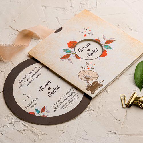 Gramofon Plak Notalı Düğün Davetiyesi EKO9112