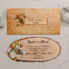 Ahşap Temalı Düğün Davetiyesi EKO9113