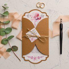 Kraft Zarflı Düğün Davetiyesi EKO9114