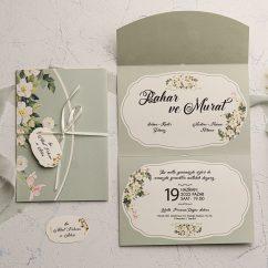 Çiçekli Düğün Davetiyesi EKO9115