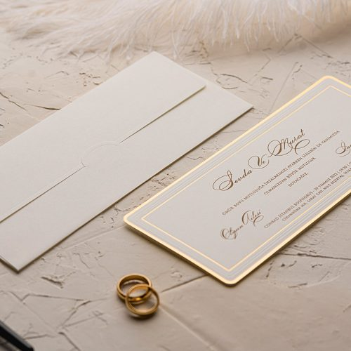 Yaldızlı Lüks Düğün Davetiyesi EKO9116