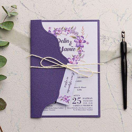 Çiçekli Mor Düğün Davetiyesi EKO9119