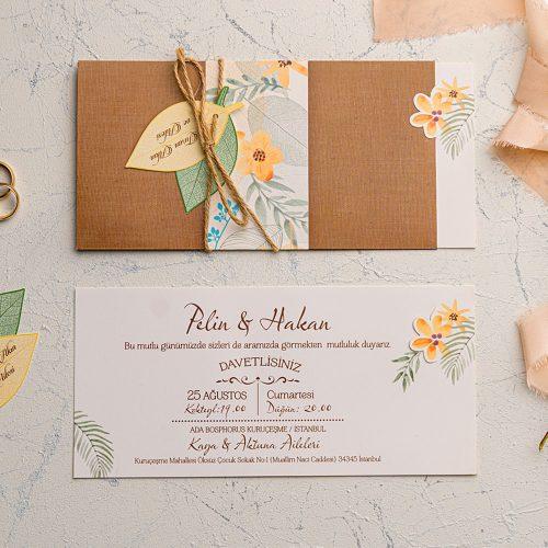 Çiçekli Yapraklı Düğün Davetiyesi EKO9121