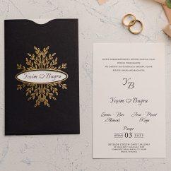 Siyah Zarflı Düğün Davetiyesi EKO9122