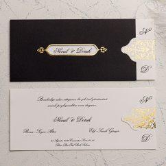 Siyah Zarflı Düğün Davetiyesi EKO9124