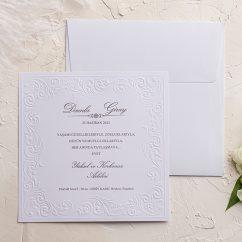 Kabartma Desenli Düğün Davetiyesi EKO9128
