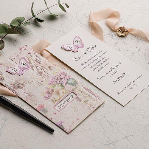 Kelebekli Çekmeli Düğün Davetiyesi EKO9131