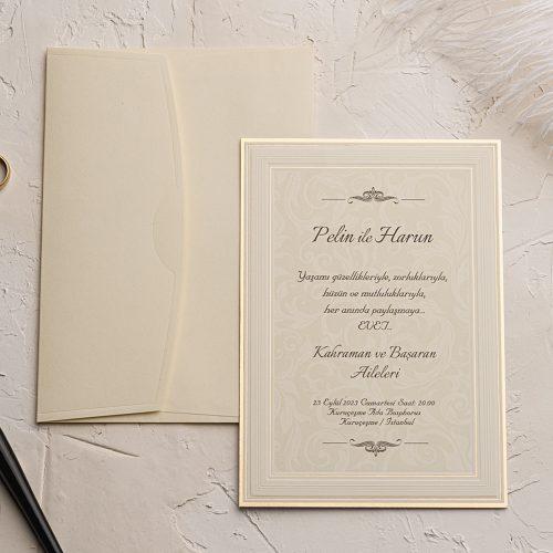 Sade Düğün Davetiyesi EKO9132