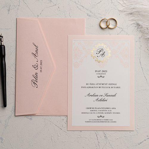Pembe Zarflı düğün davetiyesi EKO9135