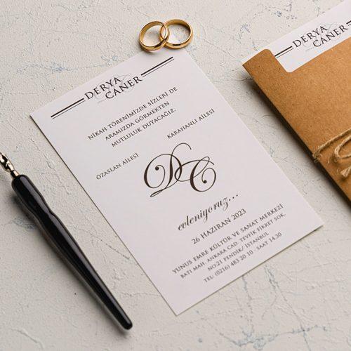 Kraft Zarflı Düğün Davetiyesi EKO9138
