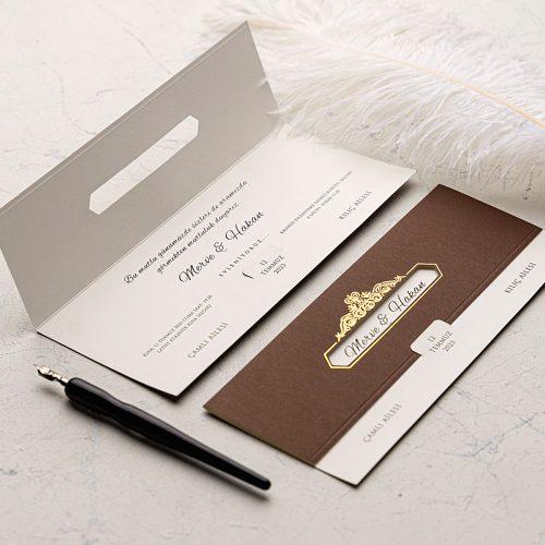 Yaldızlı Kahverengi Düğün Davetiyesi EKO9139