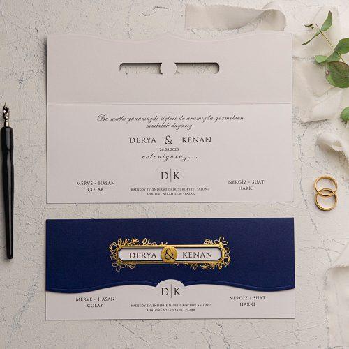 Yaldızlı Lacivert Düğün Davetiyesi EKO9141