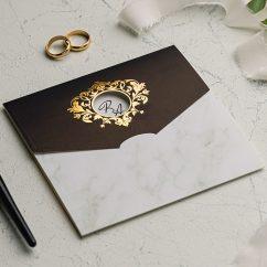 Mermer Desenli Siyah Düğün Davetiyesi EKO9142