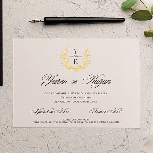 Siyah zarfla düğün davetiyesi EKO9143