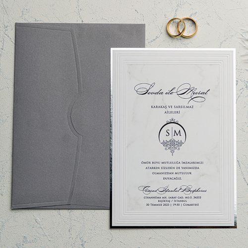 Gümüş Düğün Davetiyesi EKO9144