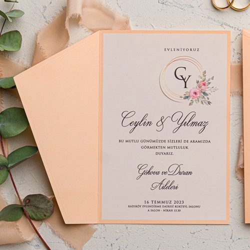 Çiçekli Ucuz Düğün Davetiyesi EKO9147