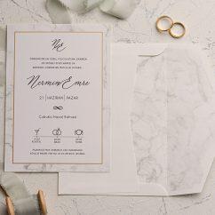 Mermer Görünümlü Düğün Davetiyesi EKO9151