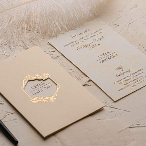 Yaldız Çiçekli Düğün Davetiyesi EKO9154