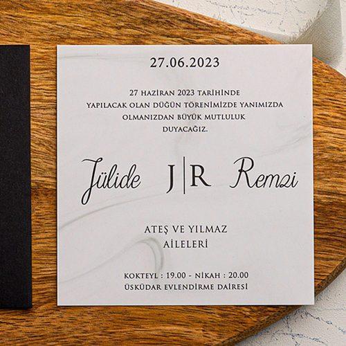 Ucuz Siyah Düğün Davetiyesi EKO9156