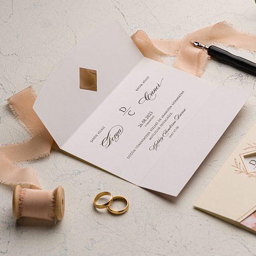 Çiçekli Ucuz Düğün Davetiyesi EKO9161