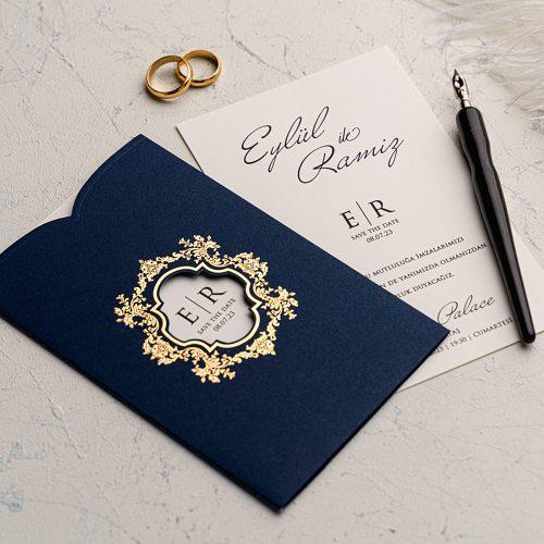 Yaldızlı Lacivert Düğün Davetiyesi EKO9162
