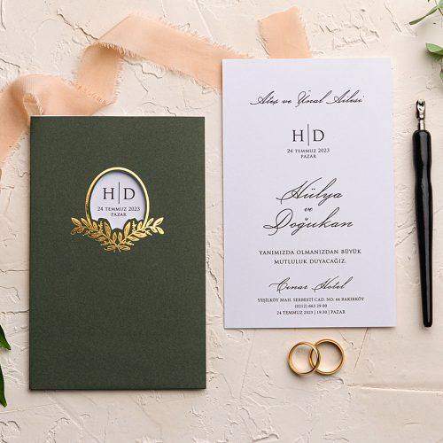 Yeşil Düğün Davetiyesi EKO9163