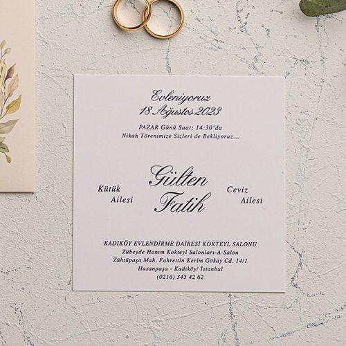 Ucuz Yapraklı Düğün Davetiyesi EKO9166