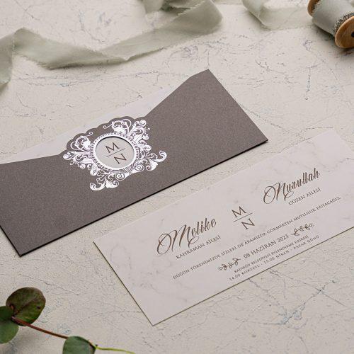 Gümüş Temalı Düğün Davetiyesi EKO9167