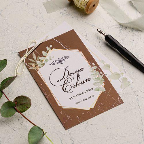 Mermer Desenli Ucuz Düğün Davetiyesi EKO9169