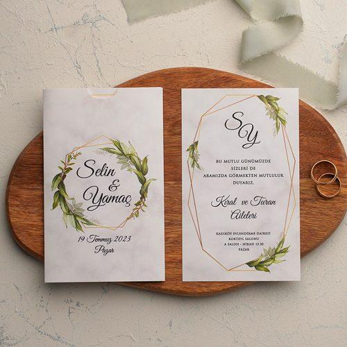 Yapraklı Ucuz Düğün Davetiyesi EKO9182